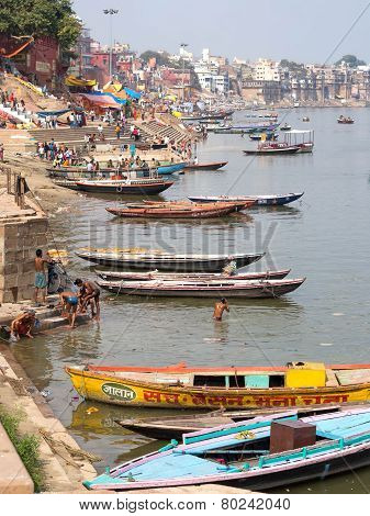 General View Of Ghats And Ganges River In Varanasi, Uttar Pradesh, India