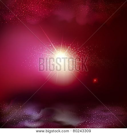 vector fantastic background with space