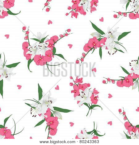Lilies and orchids bouquet seamless print