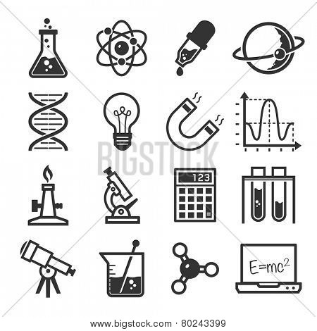 graphic set science and chemical objects on white background // BW