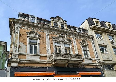 Ancient building with rich decoration in Ruse town