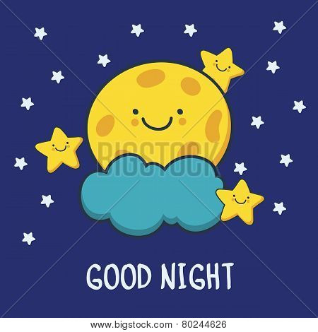 Funny Sketching Smiling Moon And Stars. Vector Cartoon Illustration Background. Good Night Card