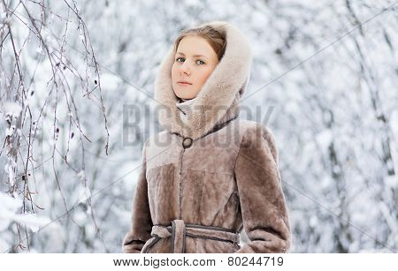 Winter And People Concept - Beautiful Woman In Winter Weather