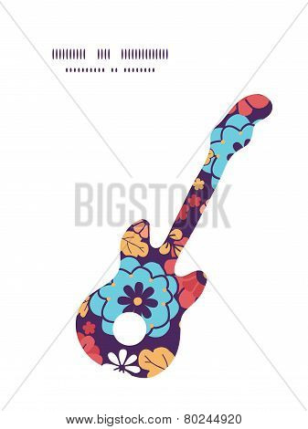 Vector colorful bouquet flowers guitar music silhouette pattern frame