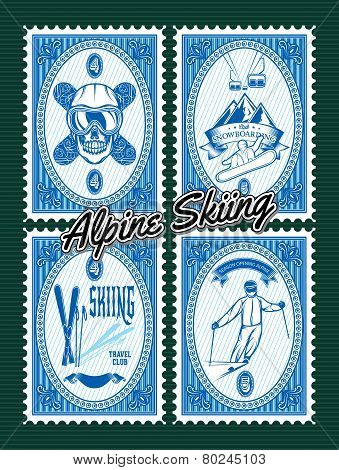 Set Of Stamps With Winter Extreme Sports
