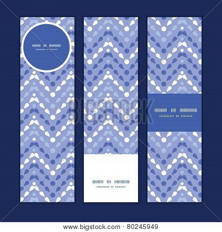 Vector purple drops chevron vertical banners set pattern background