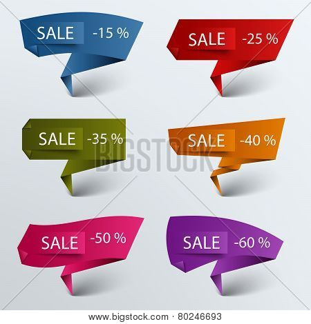 Paper Colored Folded Pointer Sale Discount Template