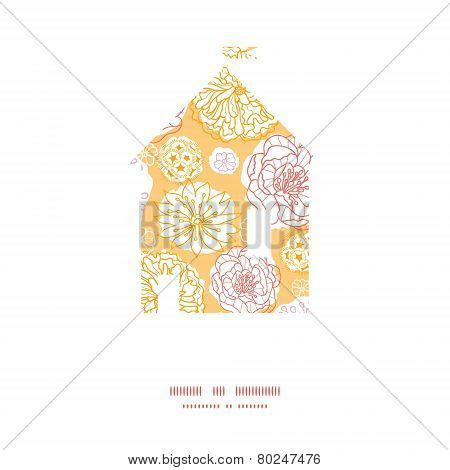 Vector warm day flowers house silhouette pattern frame