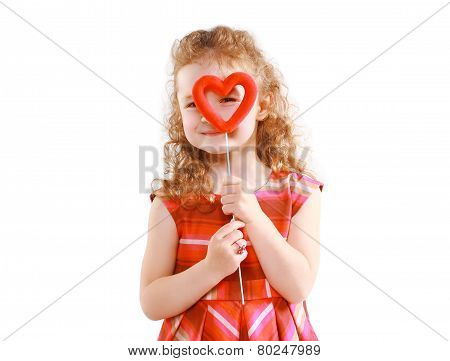 Love, Mother's Day, Valentine's Day And People Concept - Happy Little Girl Looking Through The Heart