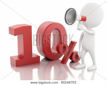 3d White people with percent sign. discount concept
