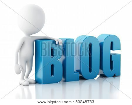 White man with blog sign on white background