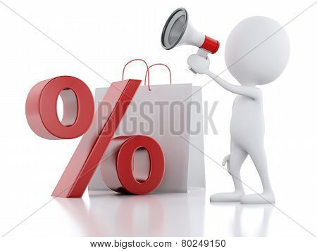 3d man sale announcement with megaphone and shopping bag