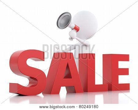 White people sale announcement with megaphone. on white background