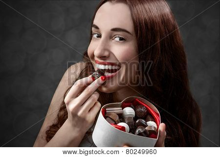 Woman with sweets. Happy Valentine concept