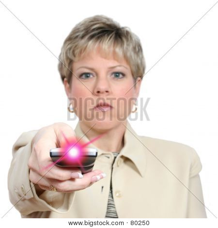 Woman Aiming Remote With Light On Over White