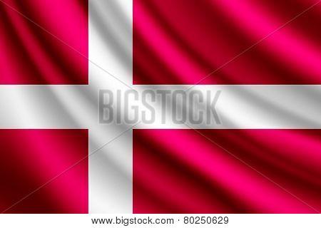 Waving flag of Denmark, vector