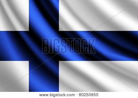 Waving flag of Finland, vector