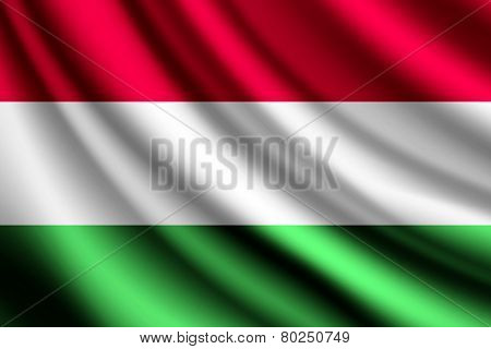 Waving flag of Hungary, vector