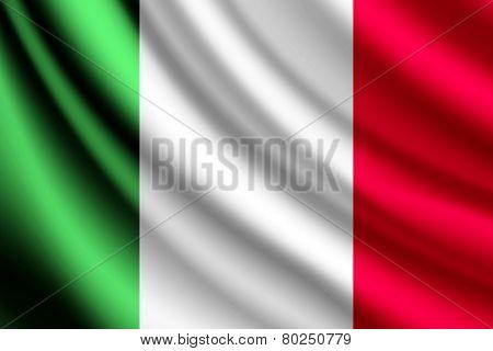 Waving flag of Italy, vector