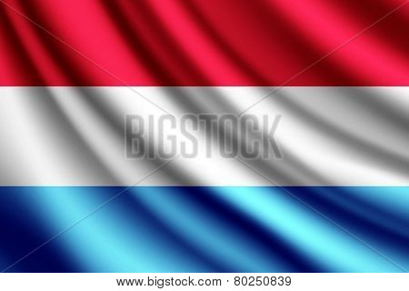 Waving flag of Luxembourg, vector