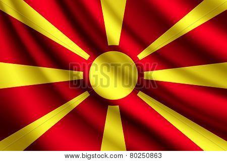 Waving flag of Macedonia, vector