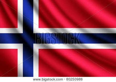 Waving flag of Norway, vector