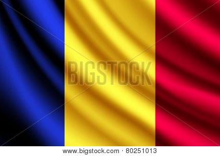 Waving flag of Romania, vector