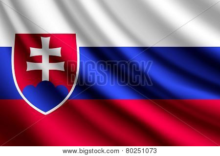 Waving flag of Slovakia, vector