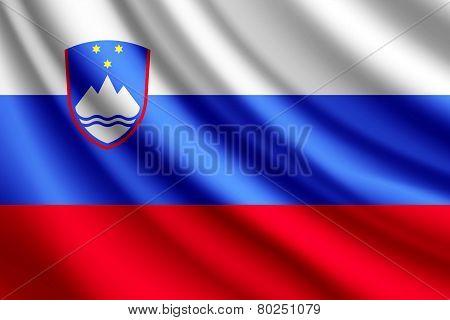 Waving flag of Slovenia, vector