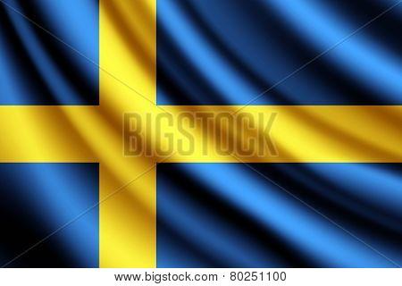 Waving flag of Sweden, vector