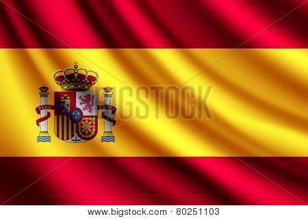 Waving flag of Spain, vector