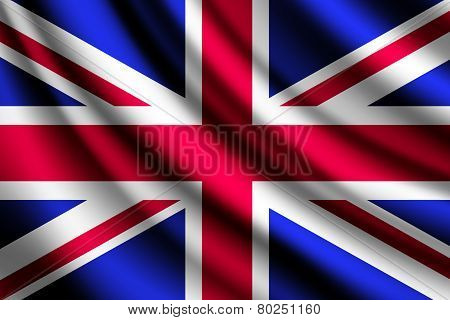 Waving flag of United Kingdom, vector