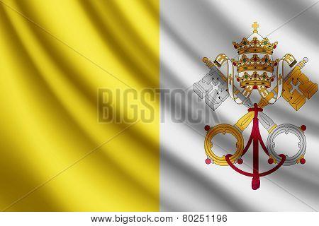 Waving flag of Vatican, vector