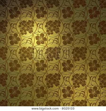 Abstract gold hibiscus pattern