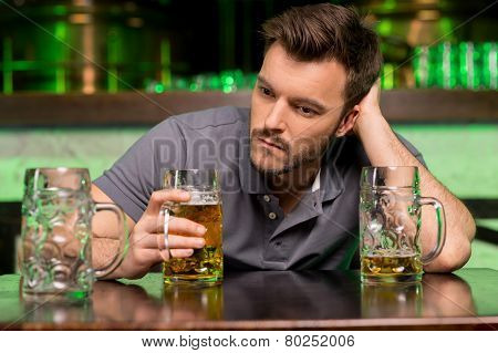 Lonely Man In Bar.