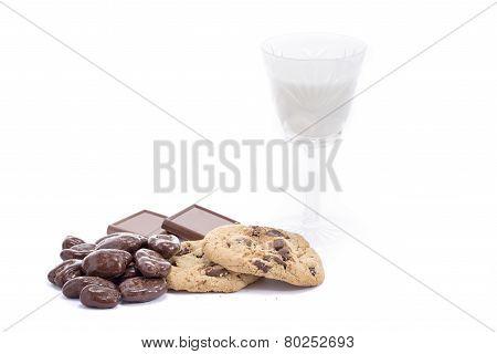 Fresh Chocolate Treats And Milk