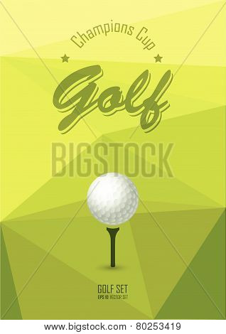 Poster For Sport. Golf Club. Postcard On Course. Ball On The Grass