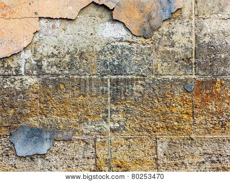 Old Concrete Weathered Walls Lined With Natural Stone