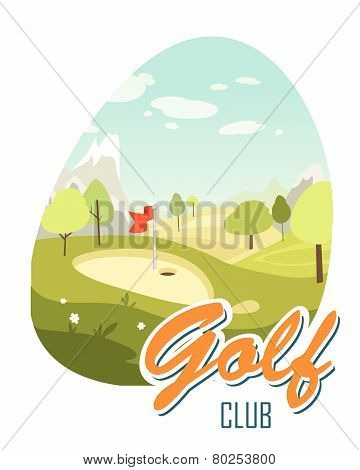 Beautiful Landscape. Golf Club. Poster For Sport. Beautiful Sunny Day On The Golf Course
