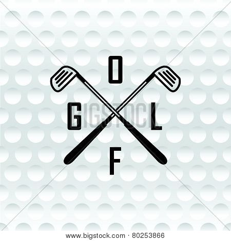 Emblems Golf Clubs. Retro Label Design. Realistic Rendition Of Golf Ball Texture Closeup.