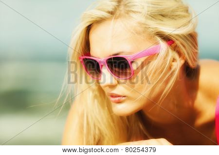 Beautiful Blonde Girl On Sandy Beach, Portrait