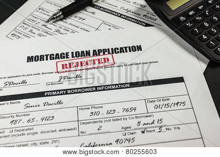 Mortgage Loan Application Rejected 010