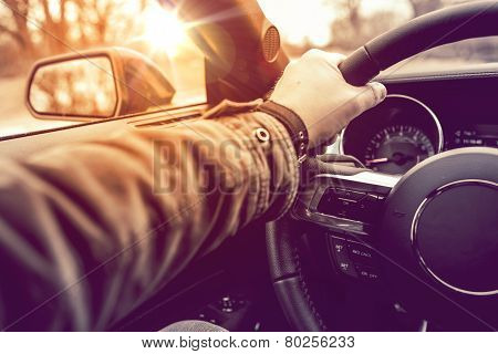 Hand On Wheel Car Driving