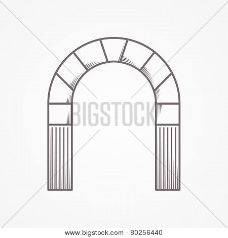 Flat line design round arch