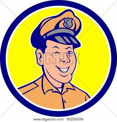 Policeman Winking Smiling Circle Cartoon