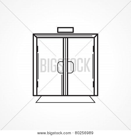 Indoors glass door black line vector icon