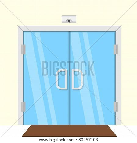 Flat vector illustration of transparent glass door