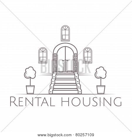 Vector illustration of vintage facade door with stairs icon with text