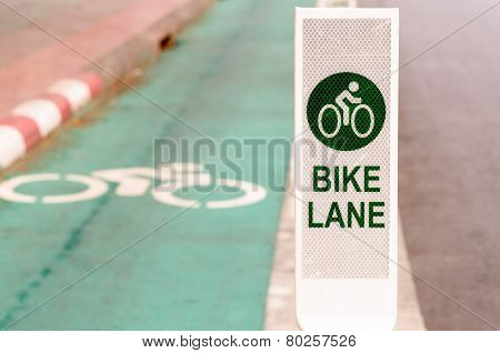 Bike lane, road for bicycles  in the city