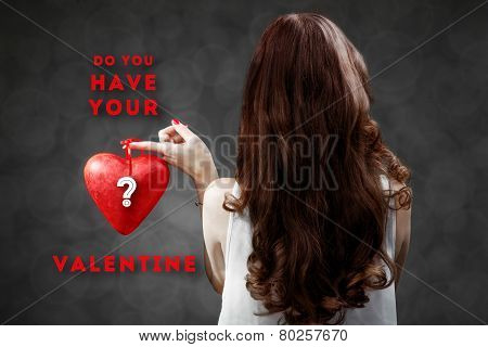 Woman with red heart